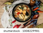 bowls of asian soup noodles and ...   Shutterstock . vector #1008229981