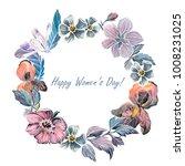 hand drawn watercolor wreath of ...   Shutterstock . vector #1008231025