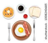 breakfast foods vector top view ...   Shutterstock .eps vector #1008240685