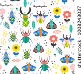Scandinavian style bugs and flowers. Hand drawn vector seamless pattern