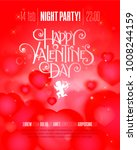 valentines day party flyer with ... | Shutterstock .eps vector #1008244159
