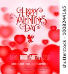 valentines day party flyer with ... | Shutterstock .eps vector #1008244165