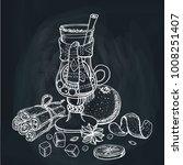 mulled wine for restaurant menu.... | Shutterstock . vector #1008251407