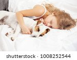child sleeping with dog. girl... | Shutterstock . vector #1008252544
