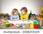 preschool boy and girl play on...   Shutterstock . vector #1008253105