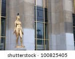 female naked statue that adorn the Trocadero in Paris. France - stock photo