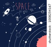 hand drawing space illustration ... | Shutterstock .eps vector #1008254167