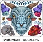 hand drawn old school tattoo...   Shutterstock .eps vector #1008261247
