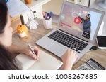 online video tutorial concept... | Shutterstock . vector #1008267685