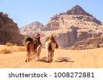 Caravan Of Camels Walking In...