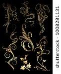 set of golden floral elements... | Shutterstock .eps vector #1008281131