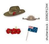 set of australian flag  anzac... | Shutterstock .eps vector #1008291244