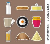 stickers set of simple...   Shutterstock .eps vector #1008291265