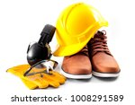 work safety concept with hard... | Shutterstock . vector #1008291589