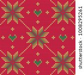 christmas sweater ornament red | Shutterstock .eps vector #1008295261