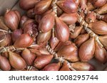 fresh shallots at farmers market | Shutterstock . vector #1008295744