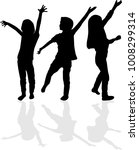 childrens black silhouettes. | Shutterstock .eps vector #1008299314