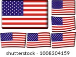 set of american flags | Shutterstock .eps vector #1008304159