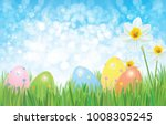 vector easter eggs in grass and ... | Shutterstock .eps vector #1008305245