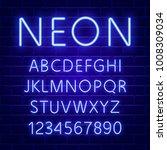 glowing blue neon character... | Shutterstock .eps vector #1008309034