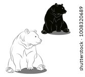 contour and silhouette bear on...   Shutterstock .eps vector #1008320689