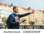 a tourist with a backpack on...   Shutterstock . vector #1008334009