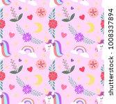 unicorn set flowers design on... | Shutterstock .eps vector #1008337894