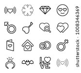 romance icons. set of 16... | Shutterstock .eps vector #1008346369