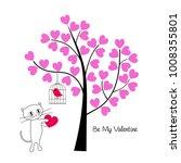 valentines day cat and bird... | Shutterstock .eps vector #1008355801