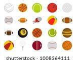 sport balls icon set. flat set... | Shutterstock .eps vector #1008364111