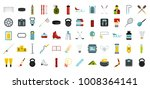 sport equipment icon set. flat... | Shutterstock .eps vector #1008364141
