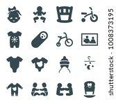 newborn icons. set of 16... | Shutterstock .eps vector #1008373195