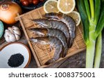 fresh raw shrimps set with... | Shutterstock . vector #1008375001