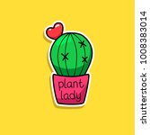 cactus  heart. vector cartoon... | Shutterstock .eps vector #1008383014