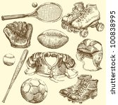 vintage sport equipment   hand...   Shutterstock .eps vector #100838995