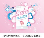 sale promotion on mobile phone... | Shutterstock .eps vector #1008391351
