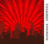 comic collapsing cityscape... | Shutterstock .eps vector #1008392311