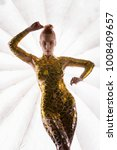 naked girl with gold tape... | Shutterstock . vector #1008409657
