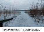 winter walk to the boat pier on ... | Shutterstock . vector #1008410839