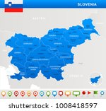 slovenia map and flag   highly... | Shutterstock .eps vector #1008418597