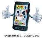 black mobile phone mascot... | Shutterstock .eps vector #100842241