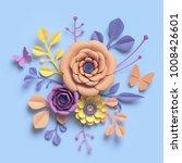 3d rendering  paper art flowers ... | Shutterstock . vector #1008426601