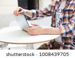freelancer working with netbook