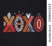 xoxo. hand drawn lettering.... | Shutterstock .eps vector #1008441019