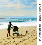 woman with a baby carriage and... | Shutterstock . vector #1008445915