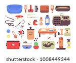 Stock vector collection of pet shop goods for cats and dogs isolated on white background set of items for 1008449344