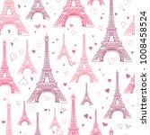 vector pastel pink eifel tower... | Shutterstock .eps vector #1008458524