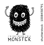 monster drawing and i'm not... | Shutterstock .eps vector #1008458791