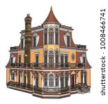 old house in victorian style.... | Shutterstock .eps vector #1008466741