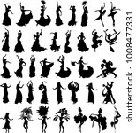 big set of silhouettes of... | Shutterstock .eps vector #1008477331